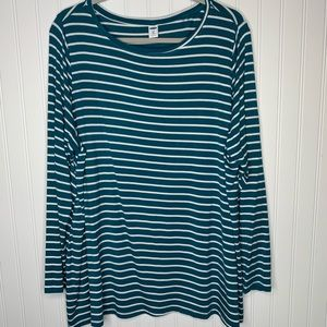 Old Navy blue white striped shirt size 2X NWT